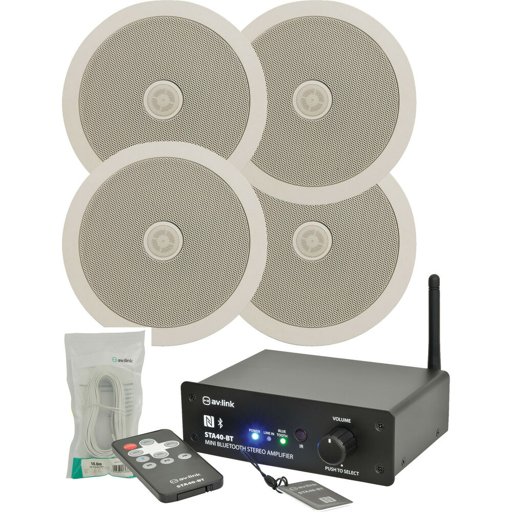 Package Bluetooth Stereo Amplifier 4 X Ceiling Speakers 2 X 10m Cable 5015972056578 Ebay