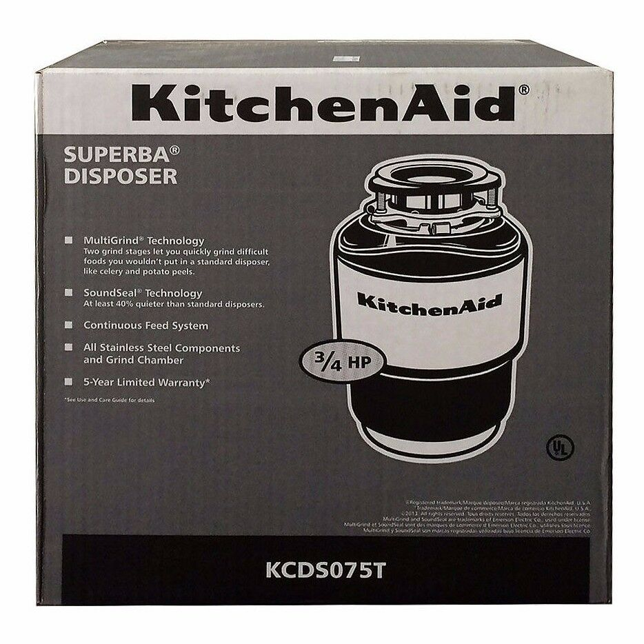 kitchenaid garbage disposal 3 4 hp 40oz kcds075t brand new ships free ebay. Black Bedroom Furniture Sets. Home Design Ideas