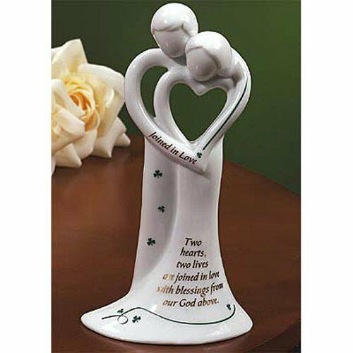 Scottish Wedding Gifts: TWO HEARTS Irish Ceramic Wedding Bell In Gift Box, Abbey