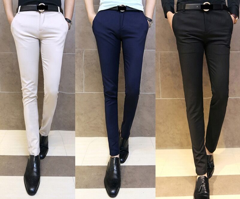 New Men 39 S Fashion Solid Skinny Fit Tapered Flat Front Casual Dress Pants 5 Size Ebay