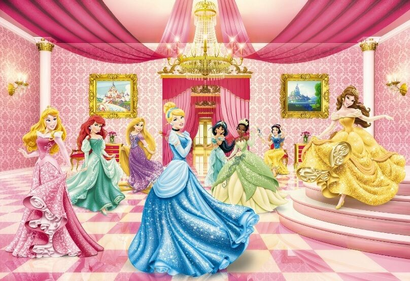 Wall mural photo wallpaper disney princess ball pink wall for Disney princess mural asda