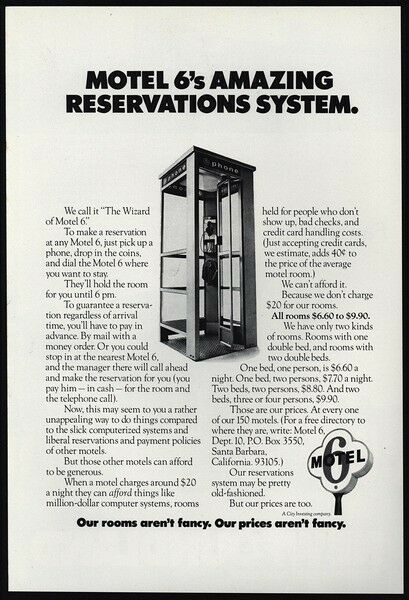 1974 motel 6 amazing reservation system pay telephone for Reservation motel