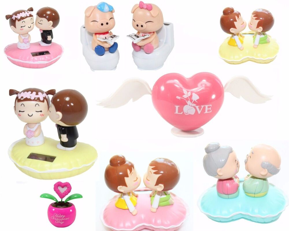 Solar Toys Valentine : Lovers gift dancing pink heart kissing couple solar toy