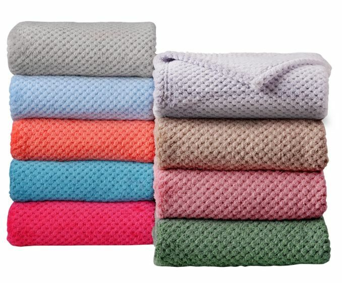 Lexton super soft solid coral fleece throw blanket new ebay for Soft blankets and throws