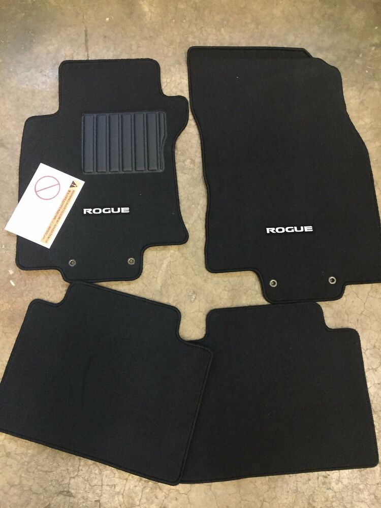 Rubber floor mats nissan rogue - New Oem Nissan Rogue 2014 2016 Black Carpet Floor Mats 4 Pc Set