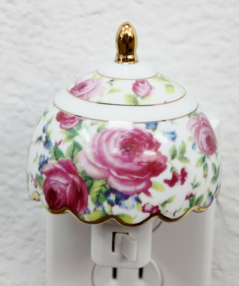 Blossom roses porcelain vintage night light lamp candle for Home decor gifts