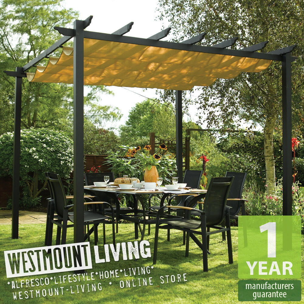 new garden patio metal retractable pergola sun canopy awning cover ebay. Black Bedroom Furniture Sets. Home Design Ideas