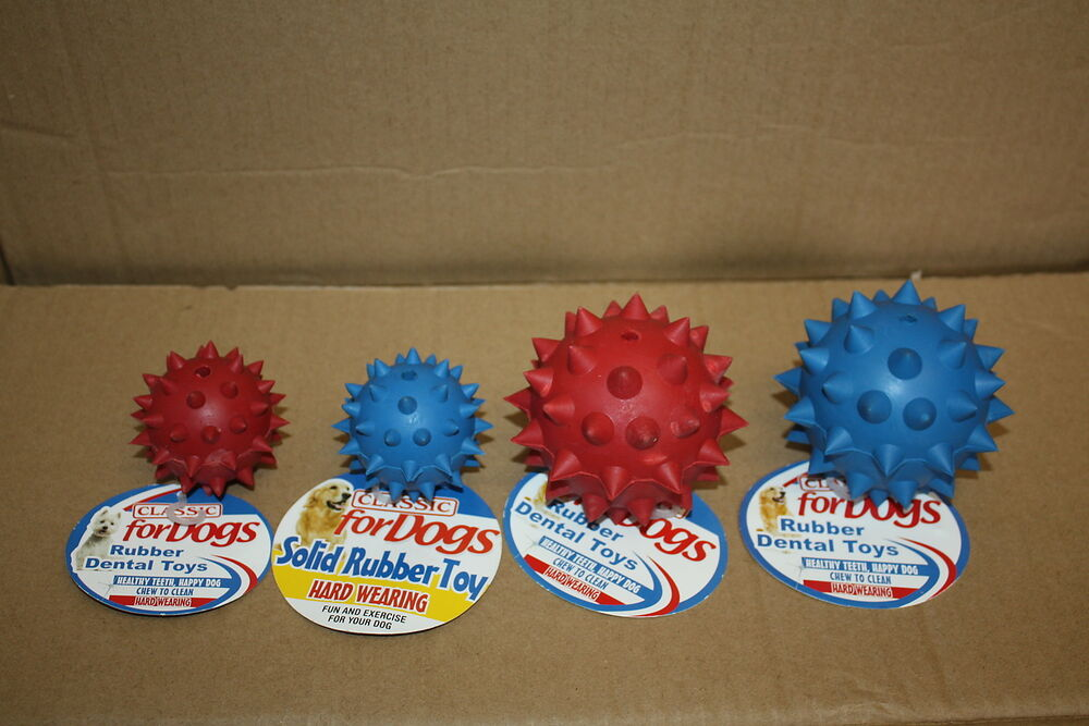 Rubber Ball Dog Toy : Classic tough rubber spike ball bell dog chew toy hard