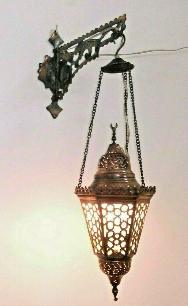Wall Brackets For Hanging Lamps : BR35 Wall Mount Hanging Brass Oriental Lamp With Bracket and White Frosted Glass eBay