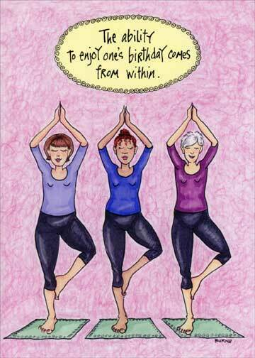 Details About Posing Yoga Women Funny Birthday Card