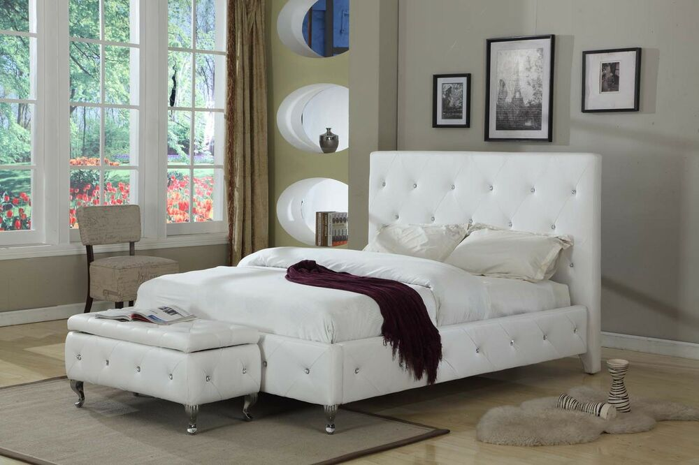 Tufted Design Leather Look Platform Bed Ivory King