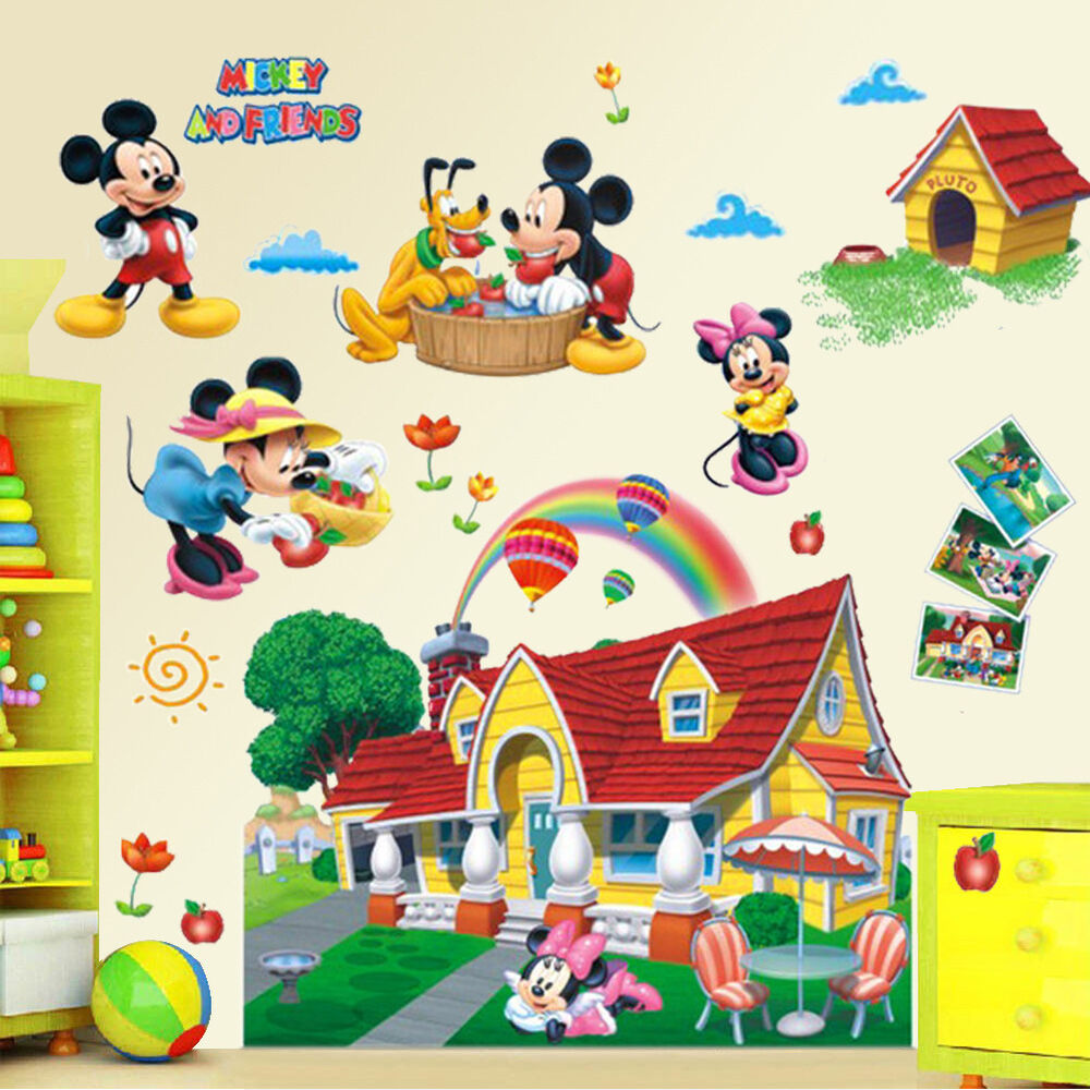 large 3d mural mickey mouse clubhouse wall sticker decal. Black Bedroom Furniture Sets. Home Design Ideas
