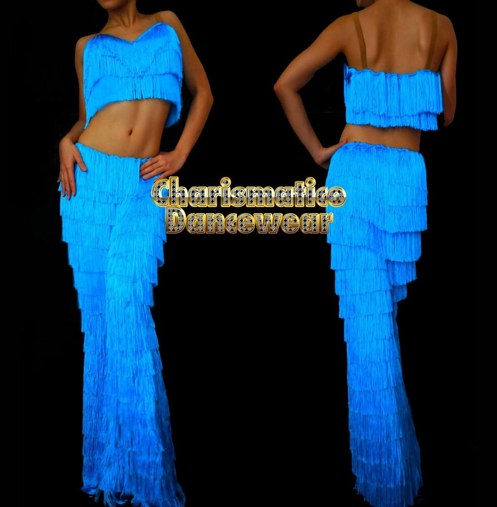 a0a9d18db Details about BLUE SALSA Latin SAMBA Fringe YULIA dance pants & Top