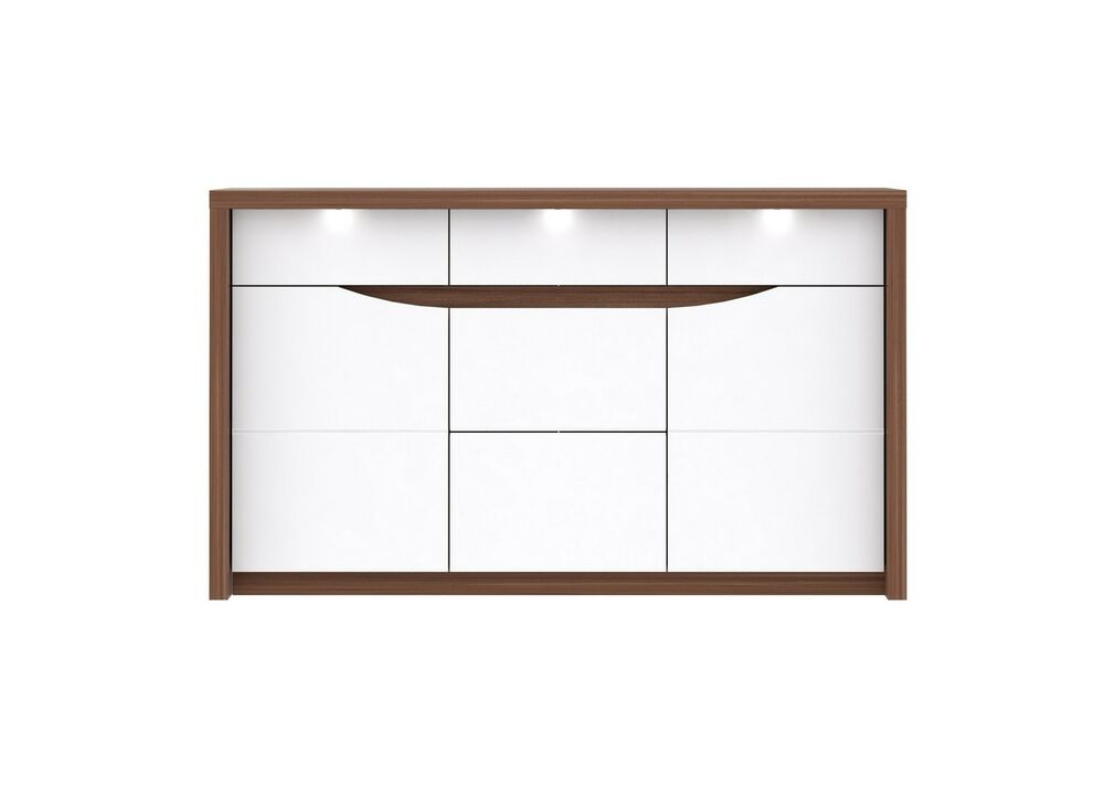 kommode sideboard saint tropez mit beleuchtung weiss hochglanz ebay. Black Bedroom Furniture Sets. Home Design Ideas