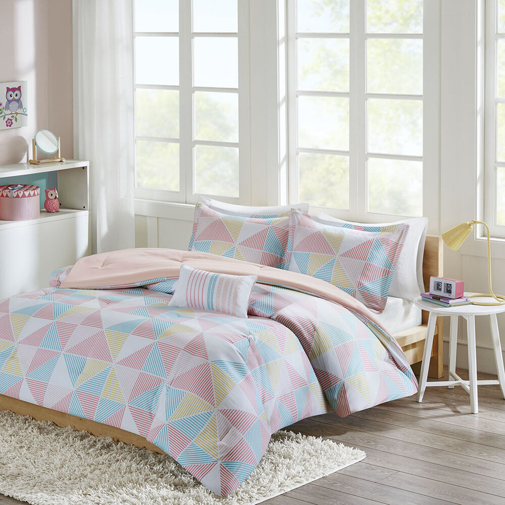 beautiful modern pink teal blue aqua yellow girls stripe comforter set pillow ebay. Black Bedroom Furniture Sets. Home Design Ideas