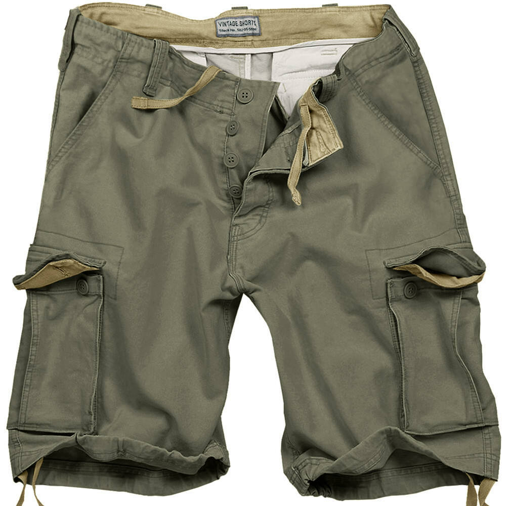 Surplus Army Style Mens Combat Vintage Cargo Shorts Washed