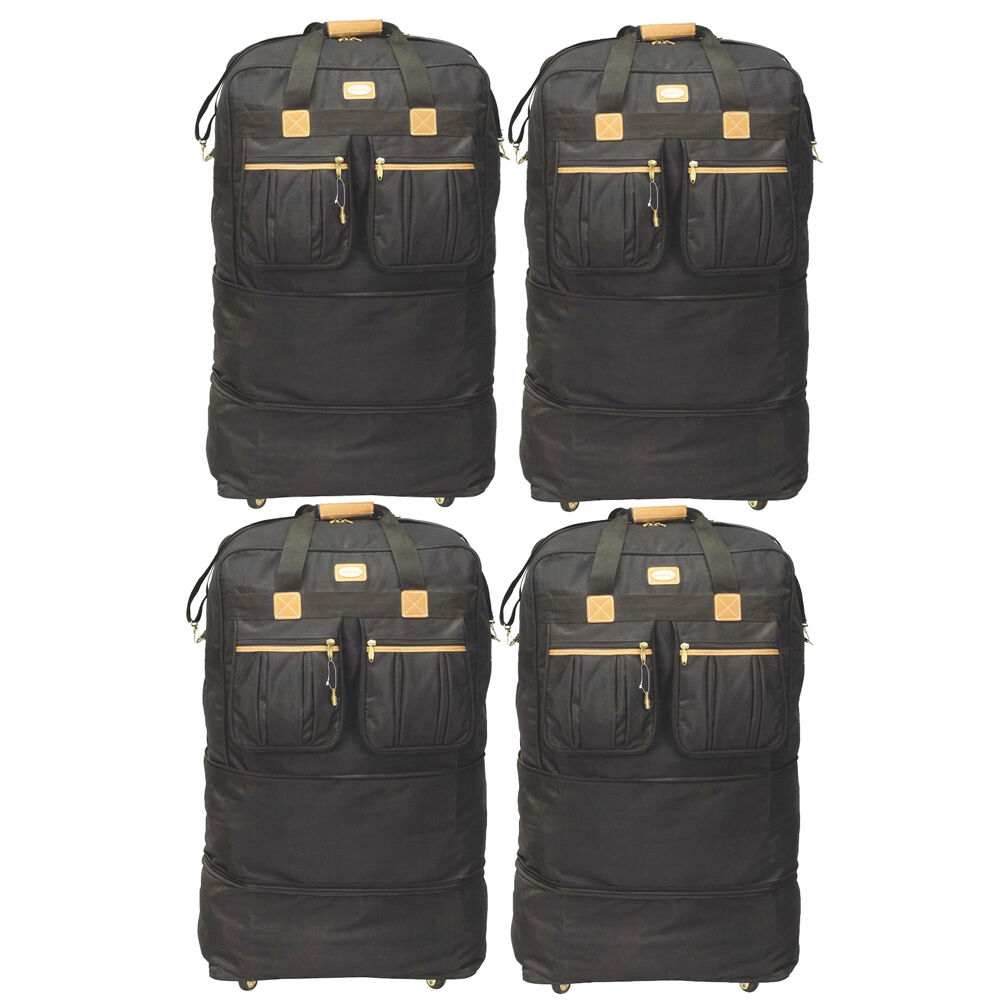 pack of 4 40 rolling wheeled duffel bag spinner suitcase. Black Bedroom Furniture Sets. Home Design Ideas