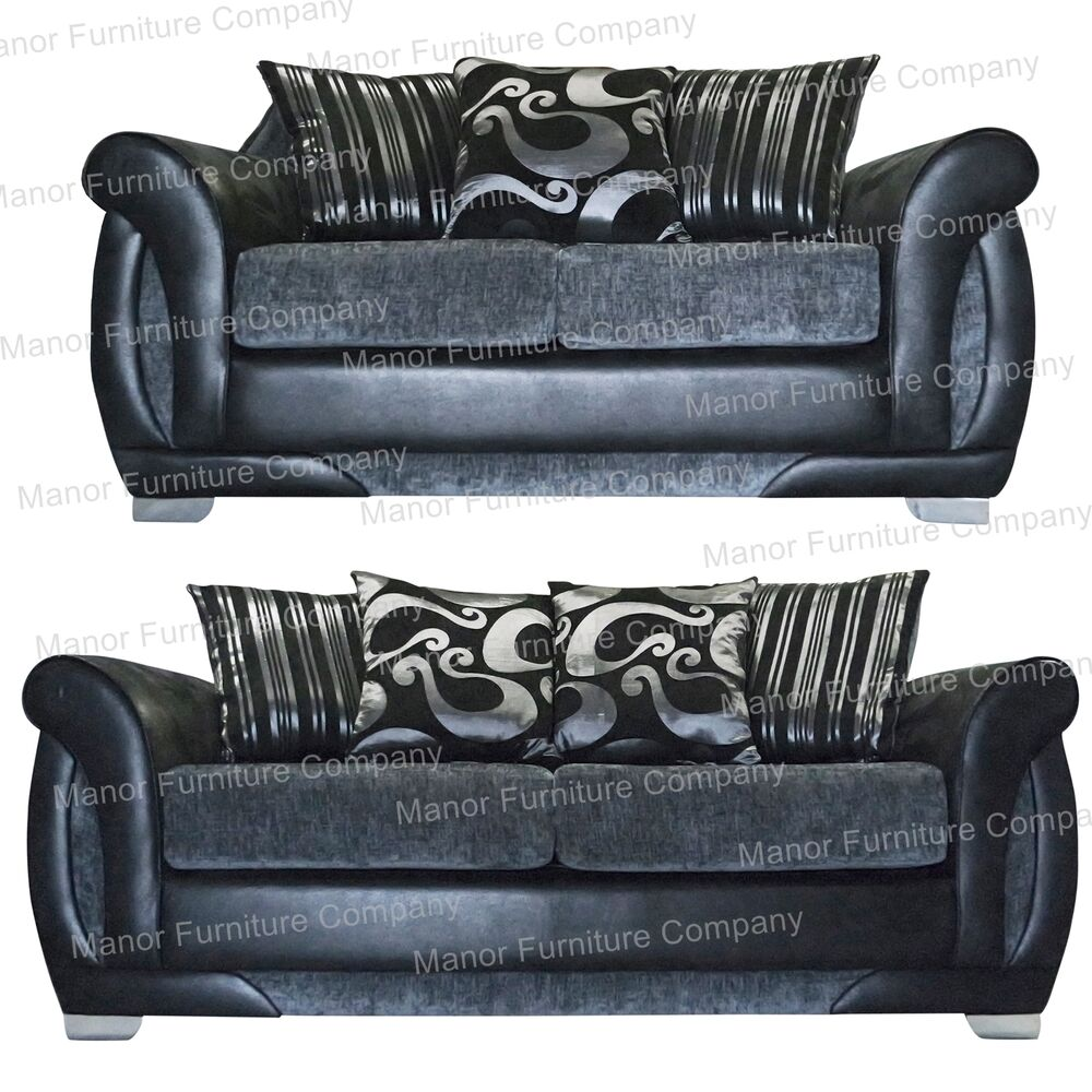 Shannon sofa set grey chenille and black faux leather for Black and grey sofa set