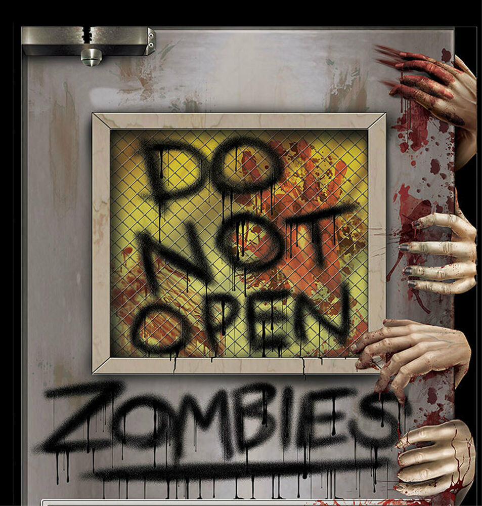 New do not open zombie attack laboratory door cover mural for Decoration zombie
