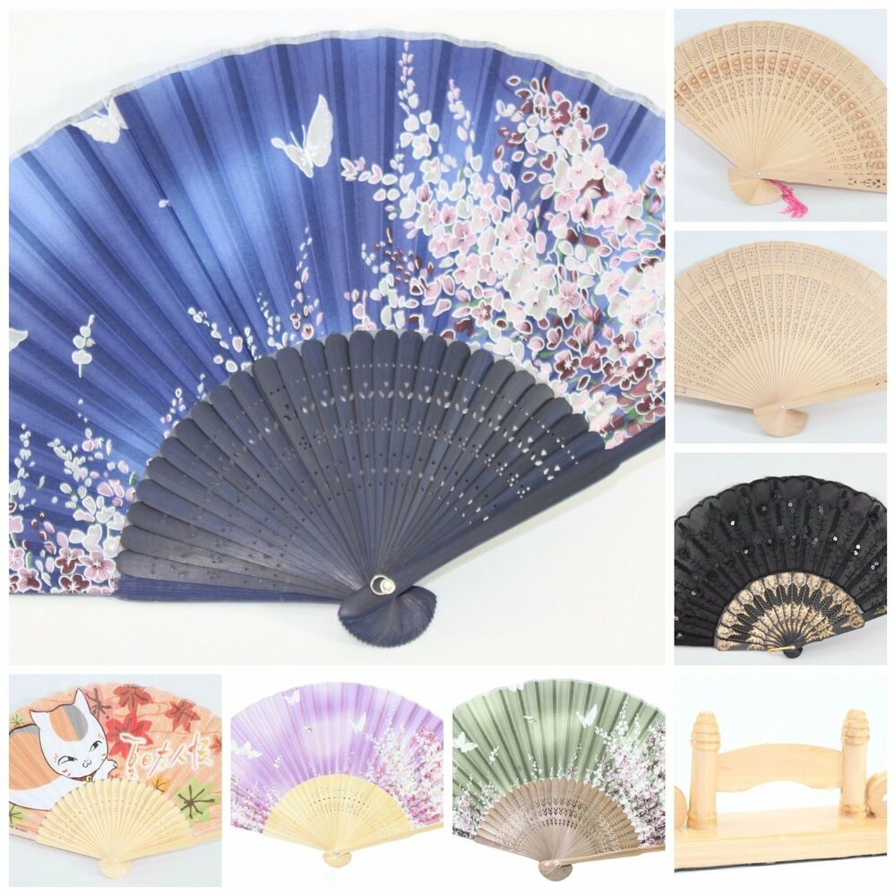 Japanese Fan Stand : Chinese japanese silk lace floral butterfly wooden cat