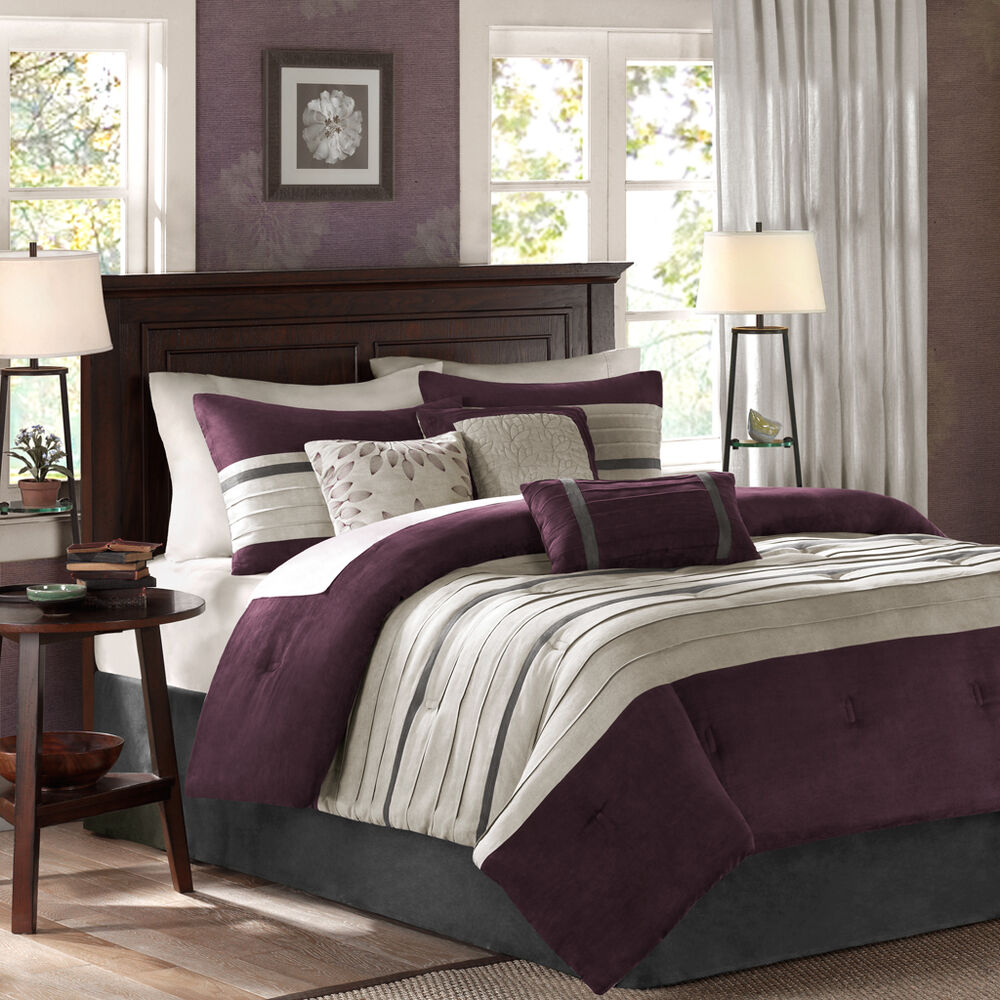 beautiful 7pc modern chic textured soft purple plum black grey comforter set new ebay. Black Bedroom Furniture Sets. Home Design Ideas