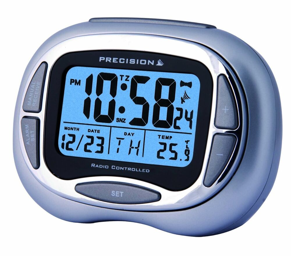 precision radio controlled alarm clock with day date month temp blue prec0100 ebay. Black Bedroom Furniture Sets. Home Design Ideas
