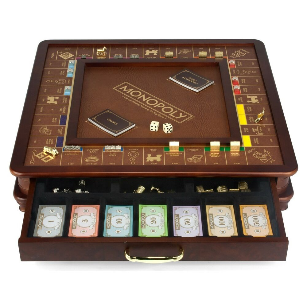 Monopoly luxury edition with wooden game board gold foil