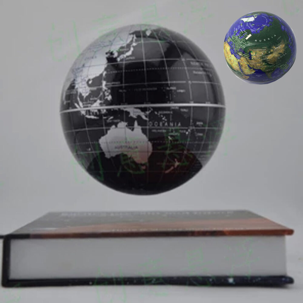 Magic book style magnetic levitation suspending spinning globe home office decor ebay - Globe main office address ...