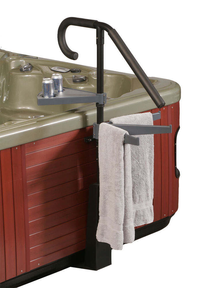 Blue wave deluxe spa caddy handrail features beverage for Outdoor towel caddy
