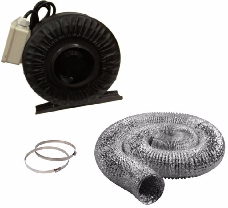 Inline Duct Vents : Quot inline fan duct hose combo exhaust blower hydroponic