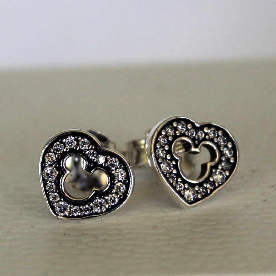 Pandora Earrings Silver: 2015 Disney Pandora Mickey Mouse Sparkling Silhouette