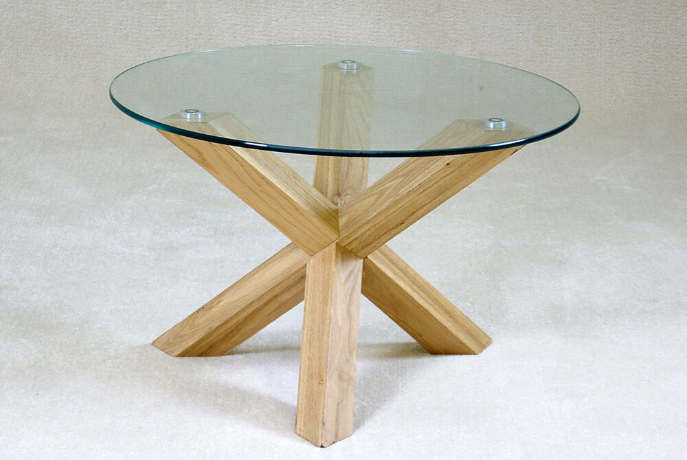 Saturn Round Clear Glass With Solid Oak Legs Lamp Side End Coffee Table Ebay