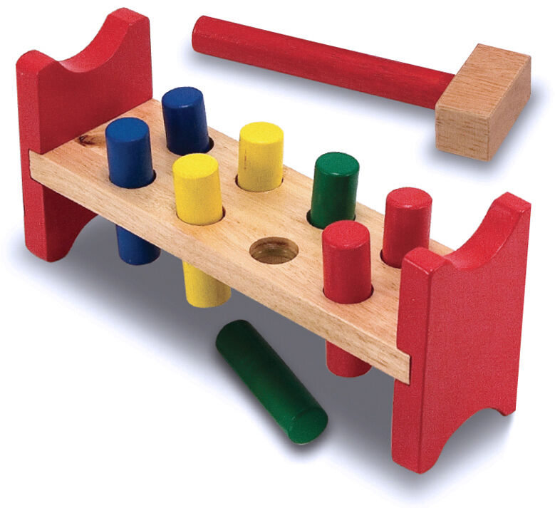 Melissa Amp Doug Kids Wooden Pound A Peg Pounding Bench With