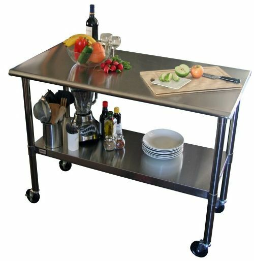 Cart stainless steel table rolling prep kitchen island commercial locking wheel ebay - Commercial stainless steel kitchen island ...