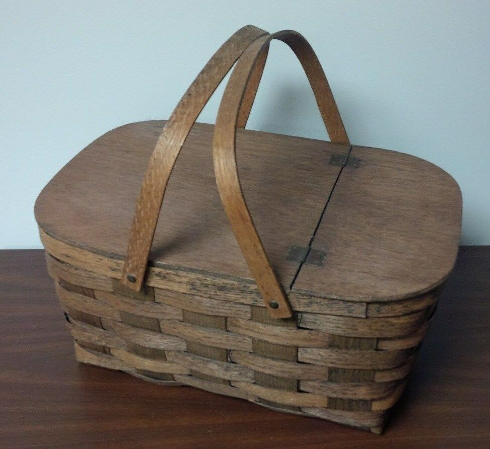 Picnic Basket Woven Wood Two Handle Picnic Basket Ebay