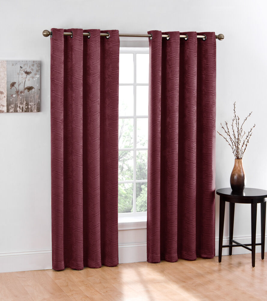 2 Thermal Blackout Grommet Window Curtain Panel Chevron