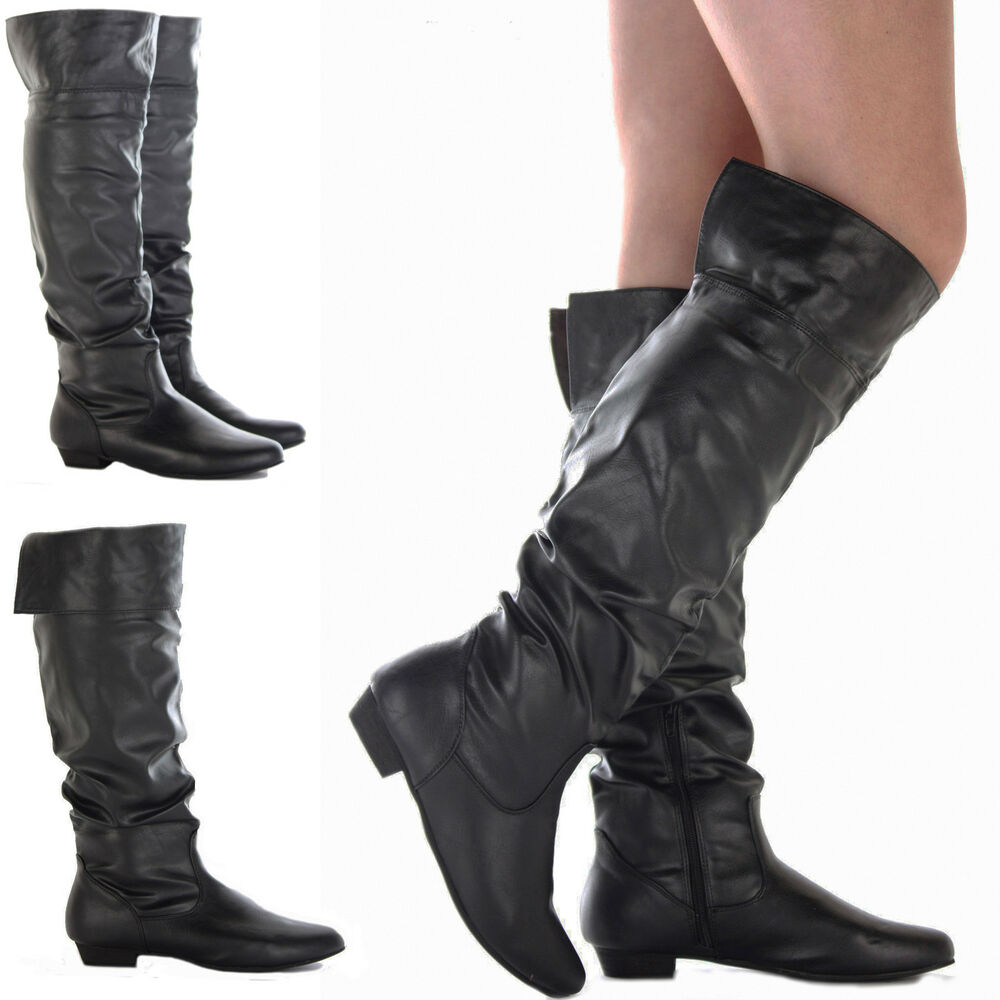 womens black flat heel the knee calf high