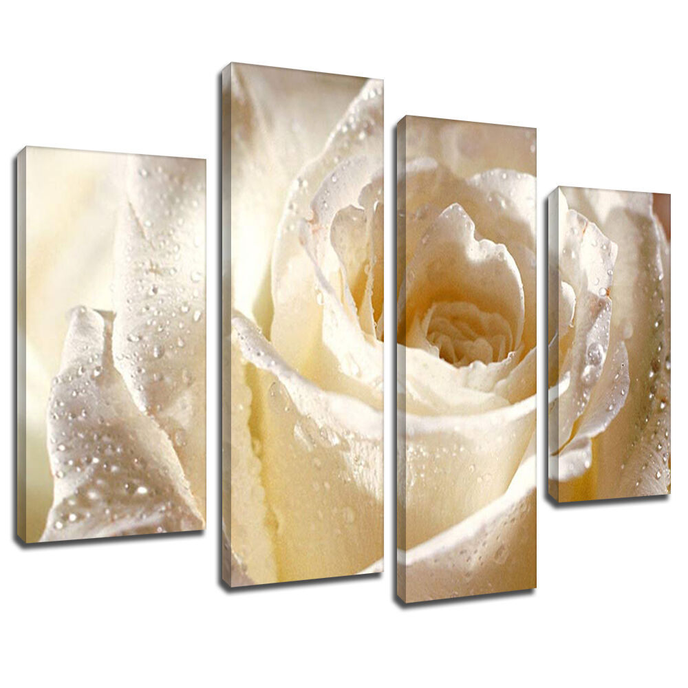 Mab075 wet white rose sparkle canvas wall art multi panel split picture print ebay - Sparkle wall decor ...