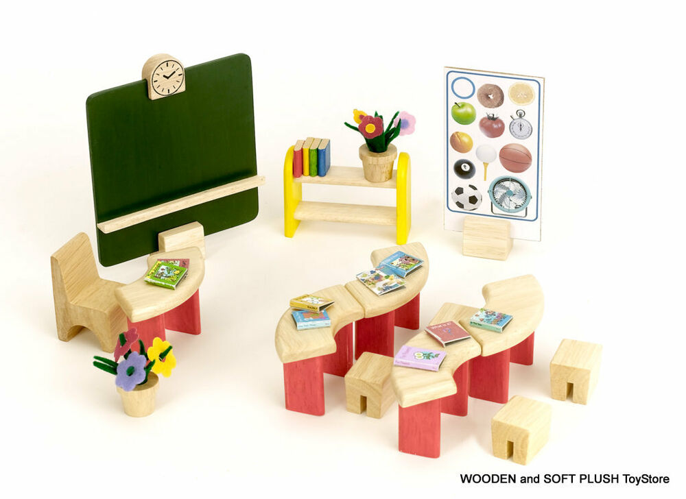 Wooden Doll House Kids Classroom Furniture Set Tables Chair Bench Blackboard New Ebay