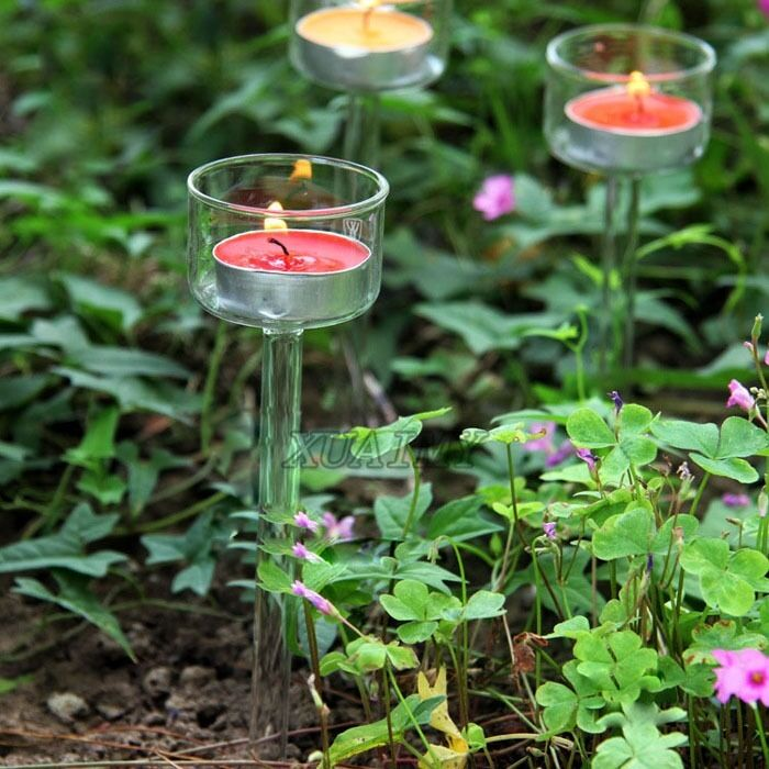 Outside Candle Holders: Outdoor Glass Candle Holder Candlestick For Camping Garden