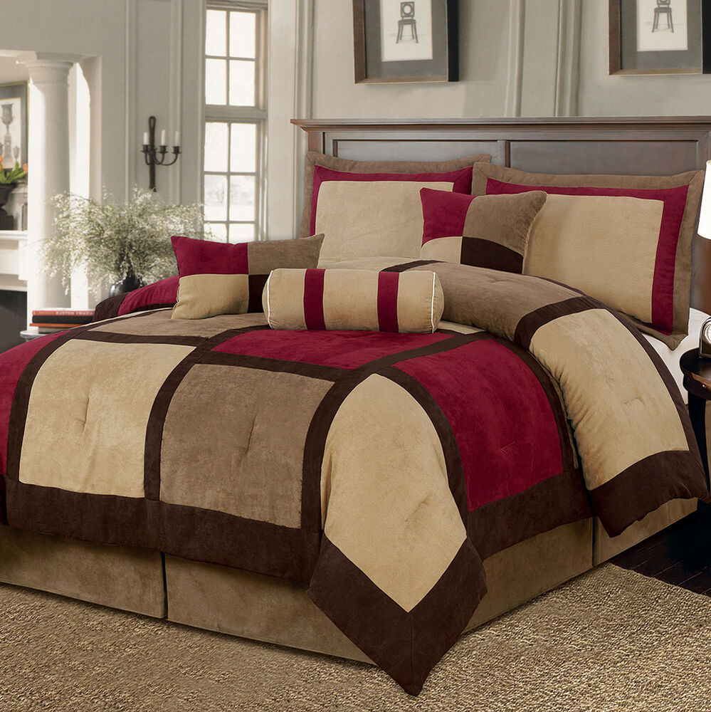 Brown red bed bag 7 pc comforter set cal king queen home - California king bedroom sets for sale ...
