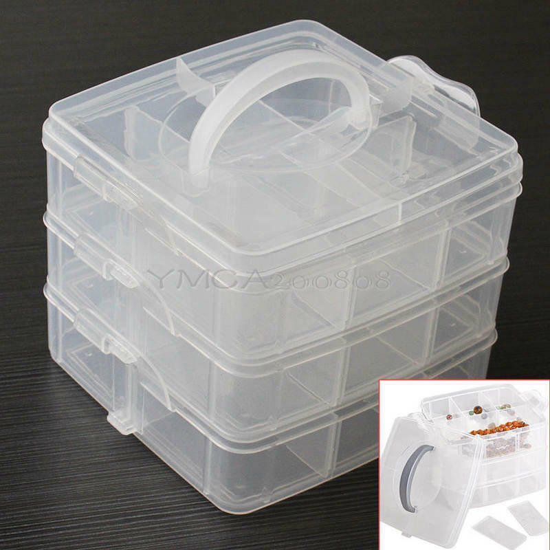3 tier plastic craft beads jewellery storage organiser for Craft storage boxes with compartments