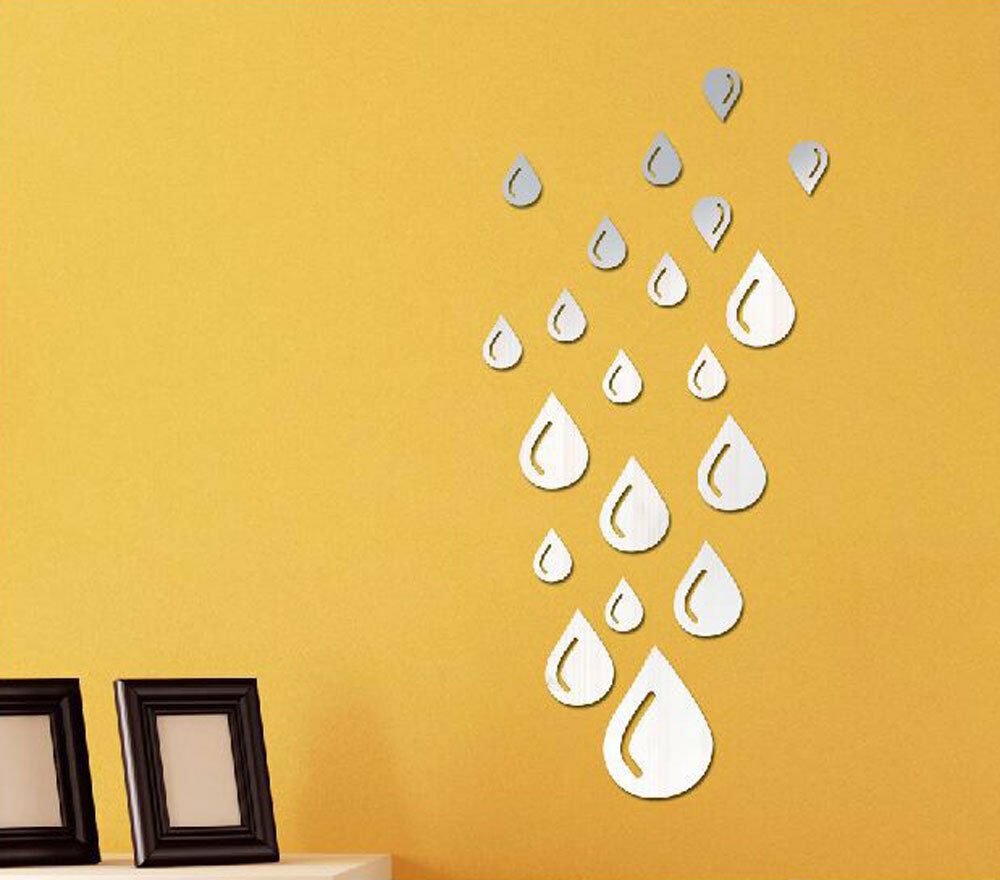 Diy drops water acrylic art mirror wall stickers removable for Mirror stickers