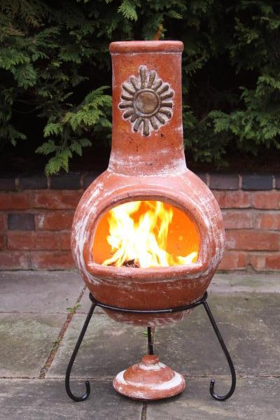 Rustic Clay Chimenea Yellow Mexican Clay Chimenea Chiminea Patio Heater Fire Pit | eBay