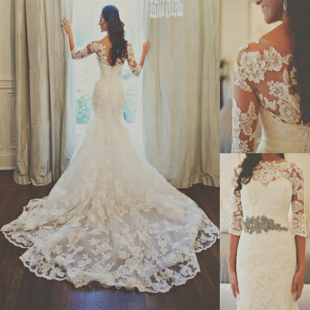 White Ivory Sheer Lace Wedding Dresses With Half Sleeve
