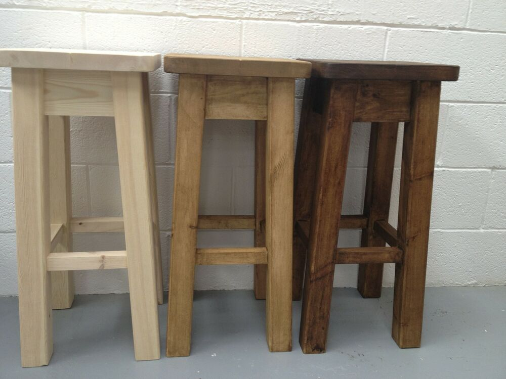 Rustic Heavy Duty Chunky Pine Bar Kitchen Stool Can Be