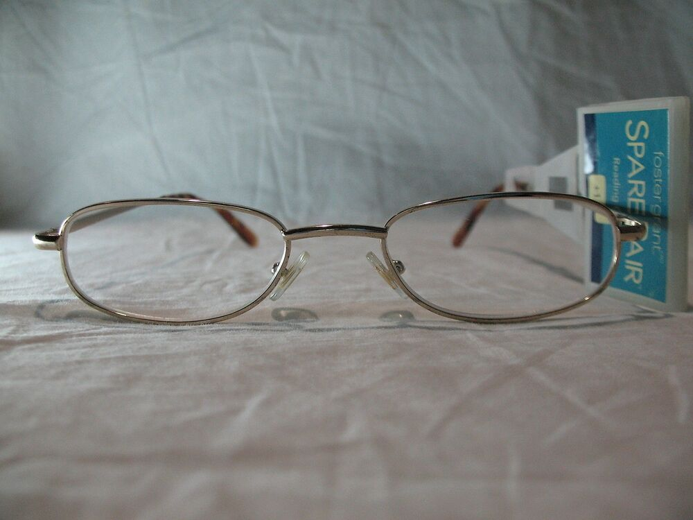foster grant spare pair gold slim oval reading glasses 1