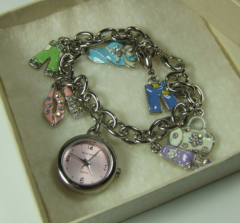 Charms And Bracelets: HARVE BENARD CHAIN LINK CHARM BRACELET WATCH, PASTEL