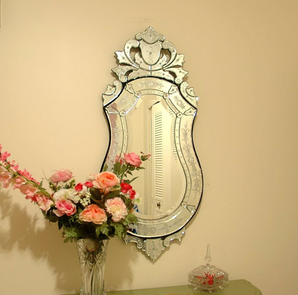 47 x 21 clear venetian art deco mirror wall decor ebay. Black Bedroom Furniture Sets. Home Design Ideas