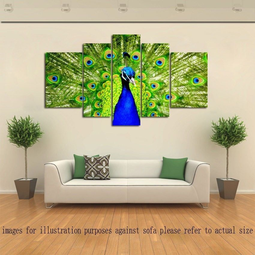 Not framed modern home decor hd canvas print animals for Home decorations peacock